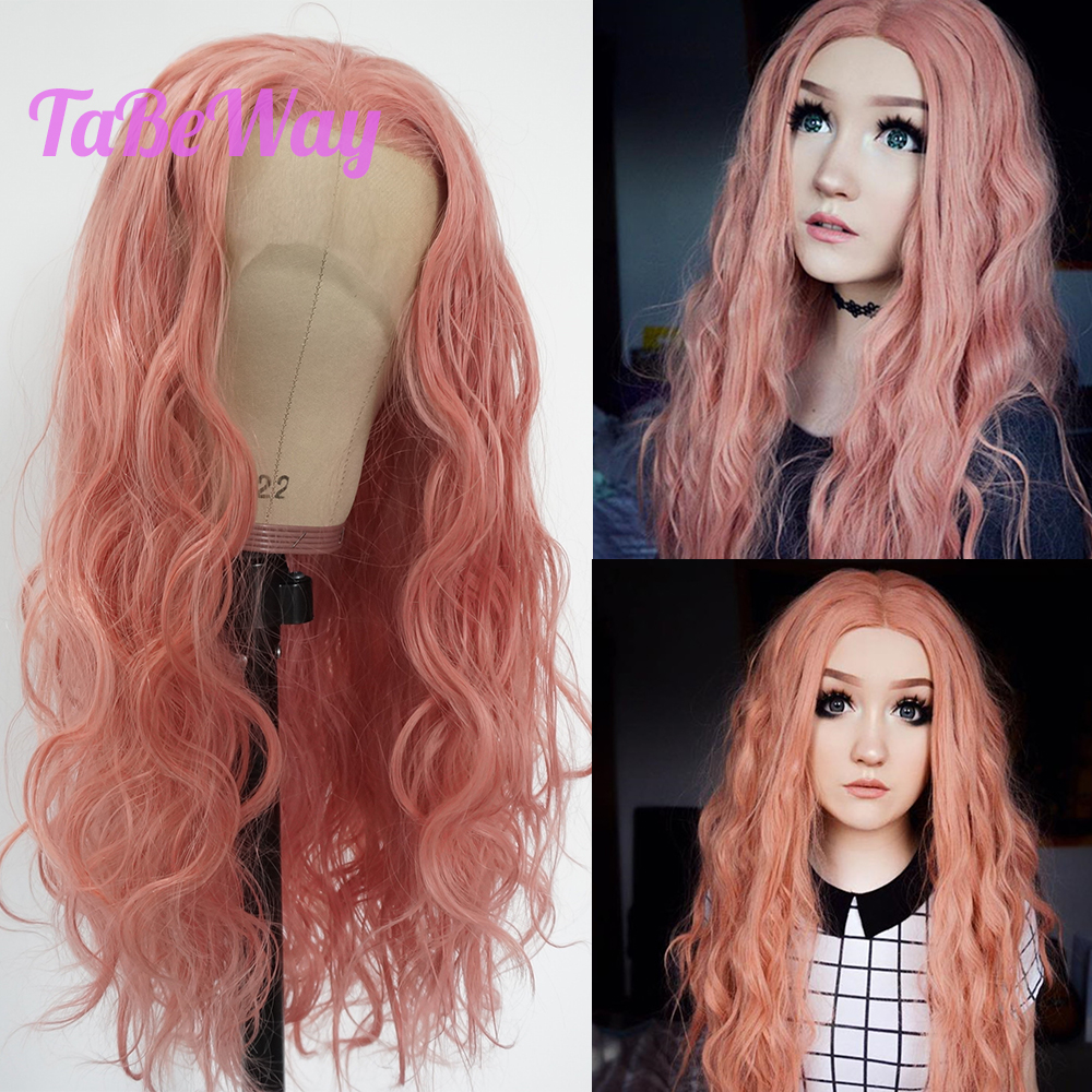 TaBeWay Pink Loose Wave Synthetic Lace Front Wig Long Hair Resistant Glueless with Natural Hairline for Women