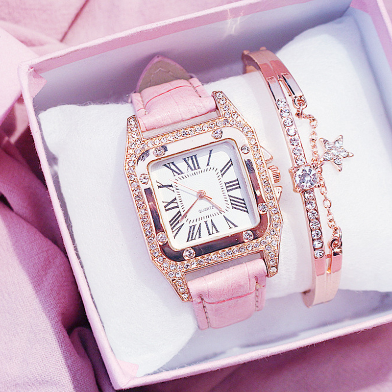 Luxury Women Watches Rhinestone Female Square Wrist Watch Classic Leather Strap Roman Numerals Wristwatch For Ladies