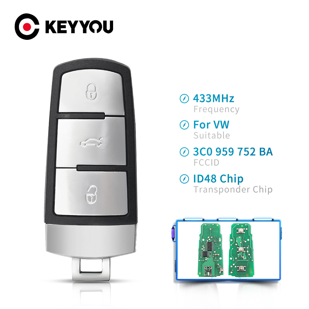 Keyyou 3c0959752ba 3bt keyless sem corte inteligente remoto chave fob 433mhz id48 chip para volkswagen vw passat b6 3c b7 magotan cc chave do carro