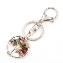 FYJS Unique Silver Plated Circle Lobster Clasp Tree of Life Tourmaline Stone Key Chain Wisdom Jewelry