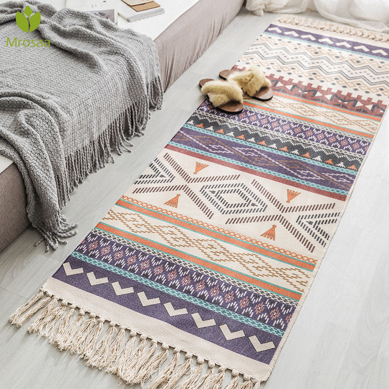 Retro Bohemian Hand Tassel Woven Cotton Linen Carpet Bedside Rug Geometric Floor Mat Long Rug Bedspread Tapestry Home Decoration