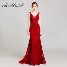 Brilhando Strass Celebrity Dresses 2019 Longo Fino Sexy Vinho Sereia Red Evening Partido Vestidos Real Photo L5488(China)