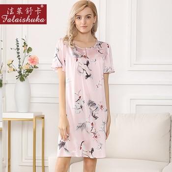 Fresh Floral 100% mulberry silk women night dress sleepwear sexy short sleeve elegant silky women princess nightgowns S5638