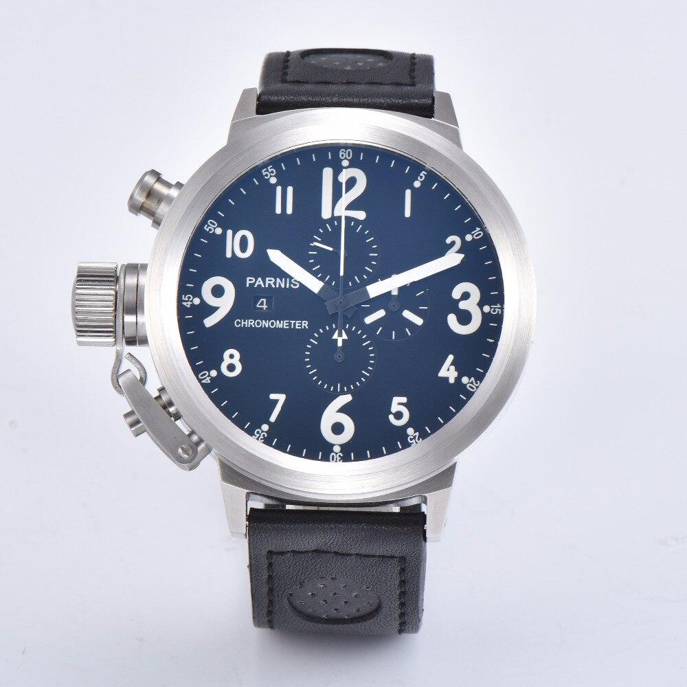 Parnis 50mm Chronograph Watch Men Leather Strap Luminous Sport Calendar Silver Japan Quartz Movement Wristwatch Men
