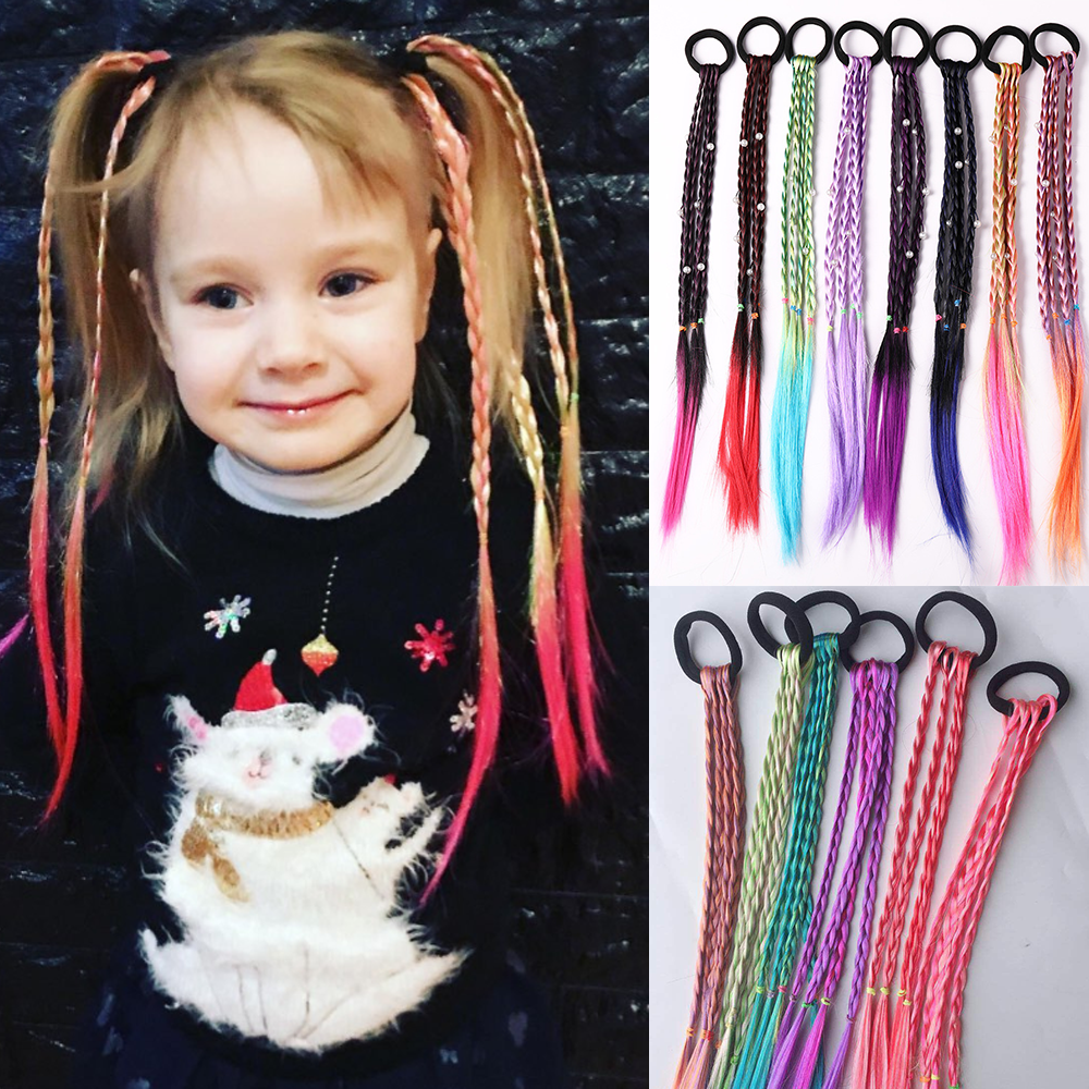 Girl Elastic Hair Rubber Band Hair Accessories Kids Wig Headband Braid Rope AL