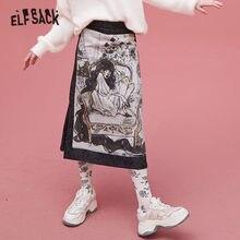 Midi Skirt Harajuku Elfsack-X-Neimy Graphic Split Vintage High-Waist Korean Women Ladies Denim