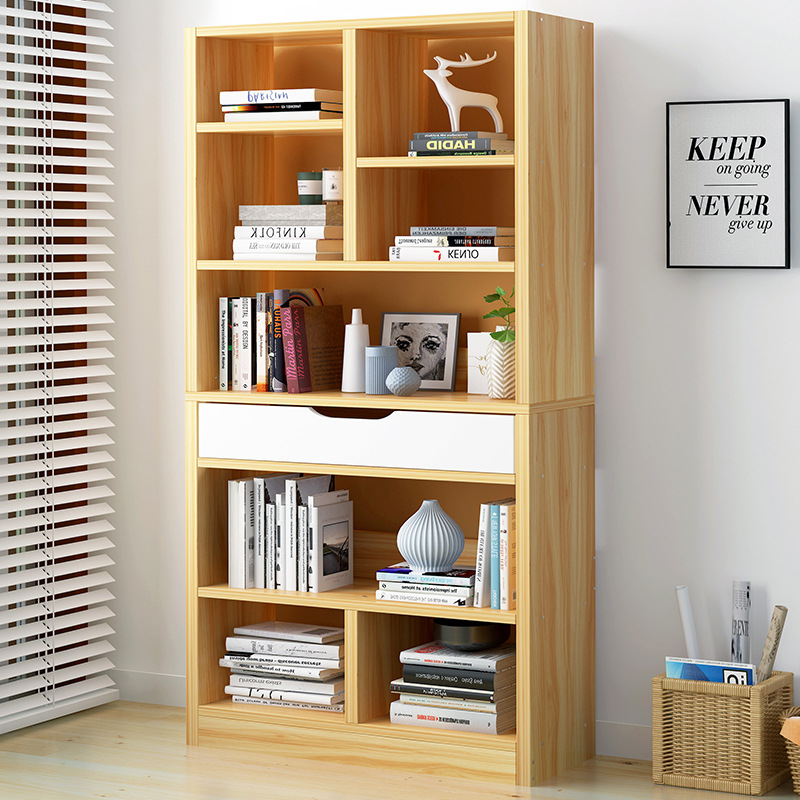 Simplicity Bookcase Bookshelf Cabinet Minimalist Modern Home Library Living Room Floor Storage Shelf Assembly Students Household