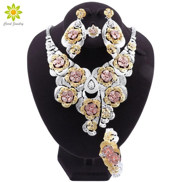 Mode Dubai Gold Verzilverd Bridal Sieraden Sets Voor Vrouwen Afrikaanse Bloem Crystal Ketting Oorbellen Armband Ring