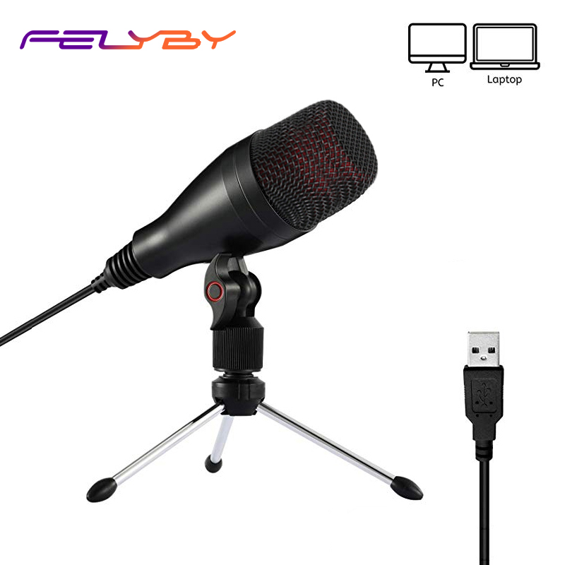 FELYBY Cardioid Condenser USB Microphone For Studio Recording Live Streaming YouTube Video Conference Broadcasting Gaming Mic