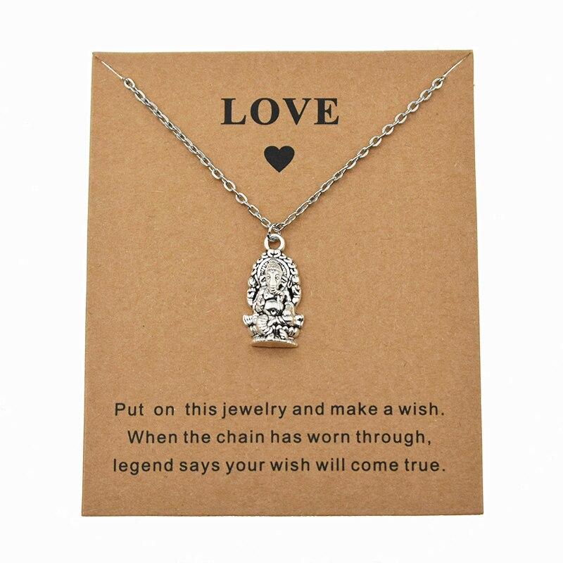 Novo colar de ganesha com cartão de amor mulher homem pingente colar de corrente hindu elefante deus ganesh religião jóias presentes