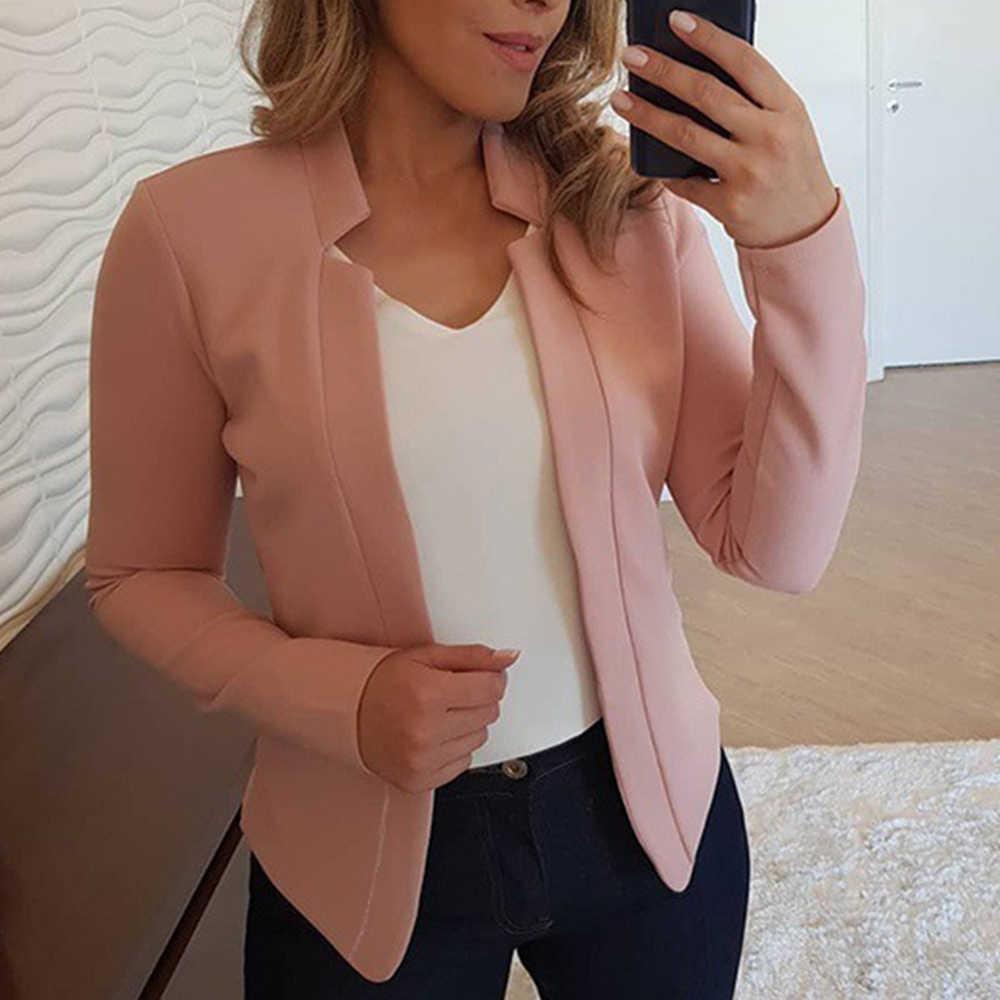 NIBESSER 2019 automne nouveau solide Cardigan Blazers femmes mode sans boutonnage costumes décontractés femme élasticité doux femmes Blazers