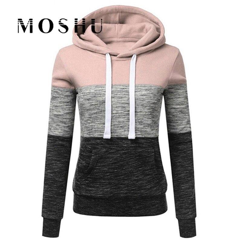 Women Pullovers Winter Hoodies Streetwear Ladies Casual Kpop Hoody Fashion Patchwork Sweatshirts Female Hooded Top Bluza Damska