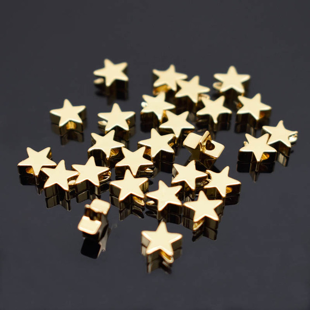 6mm Pentagram heart cross Butterfly shape Beads Metal Copper beads Gold Loose beads for Jewelry Making DIY Bracelet hole 1.7mm 2