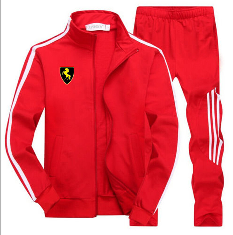 Men's Gym TrackSuit Sport Jacket Suit Set Trousers Black Red White Orange Blue