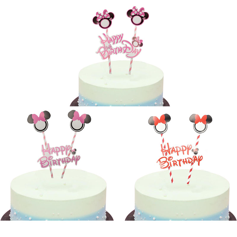 Tremendous 1Set Mickey Minnie Mouse Theme Happy Birthday Cake Topper Flags Funny Birthday Cards Online Elaedamsfinfo