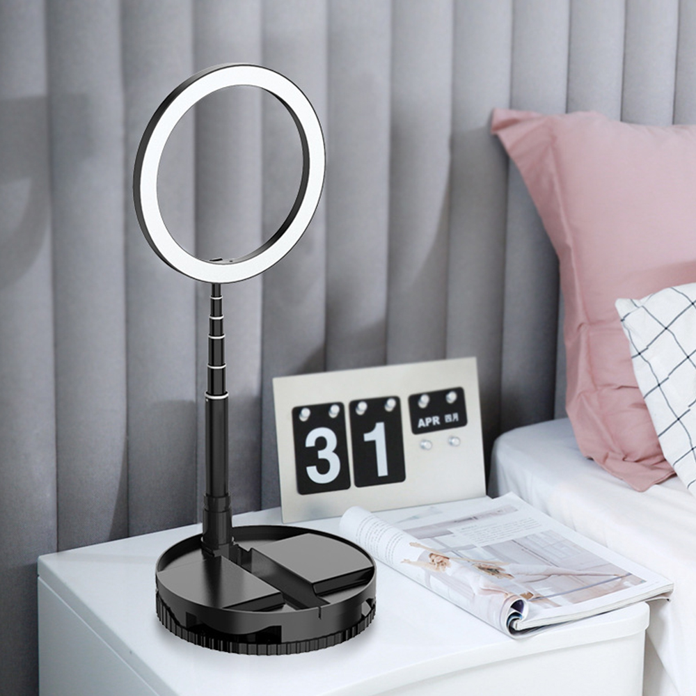 Portable Live Light Dimmable Lamp Vlogging Video Makeup Yutube 10'' LED Circle Light Retractable Selfie Photography Ring Lamp