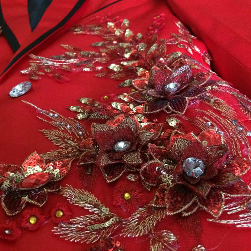 Red Mens Tuxedo Plus Size 3XL 4XL Men Sequin Blazer Suit Wedding Groom Suits DJ Prom Tuxedos Stage Singers
