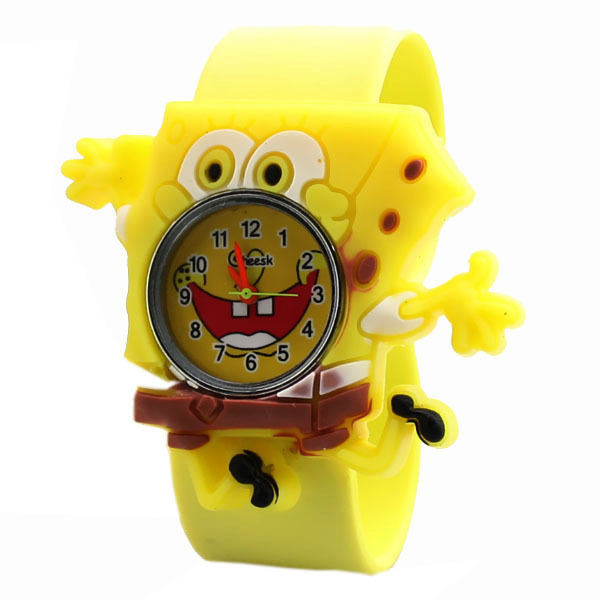 Q Version Of Child Tape, Multicolored Pat Watch, Jelly Color Cute SpongeBob SquarePants Watch Watch Children Cartoon Watch