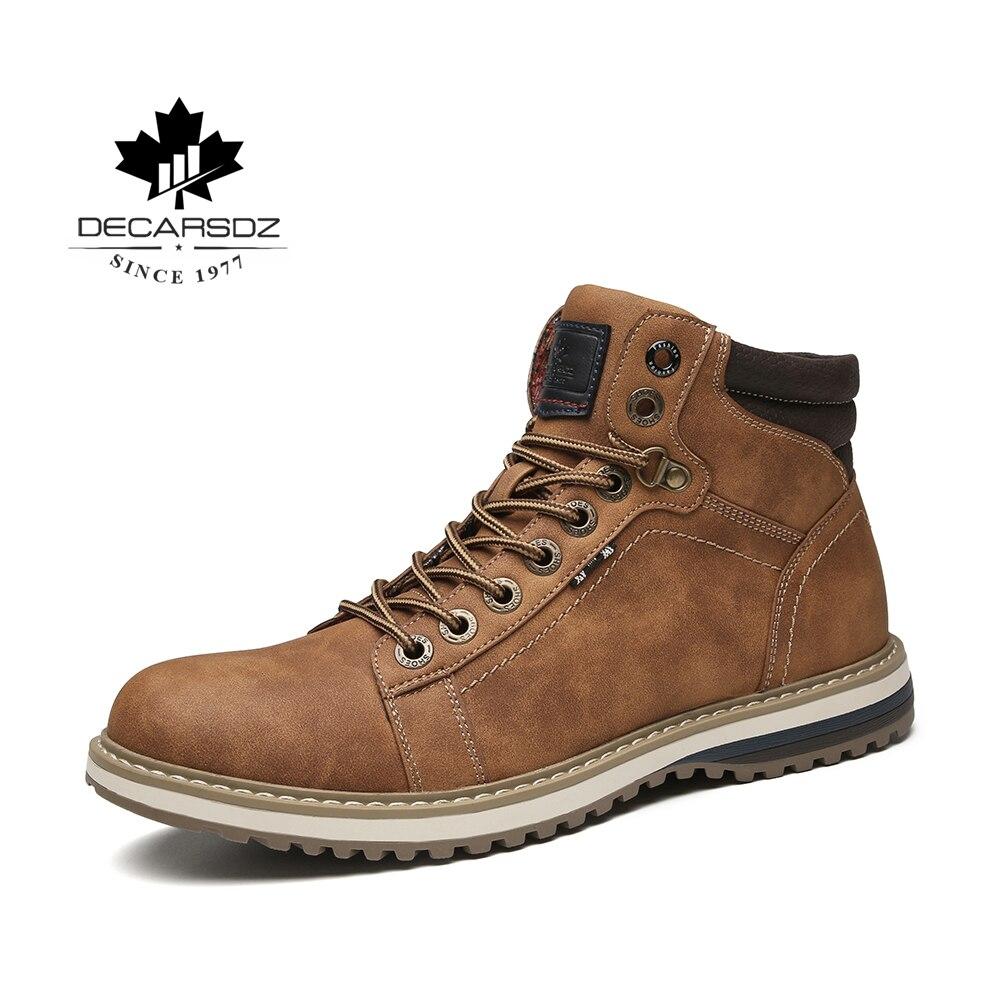Men Casual Boots Men 2019 Autumn & Winter Fashion Ankle Botas Hombre Brand New Comfy Basic Boots Man Lace-Up Leather Men's Boots