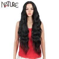 Pelucas frontales de encaje sintético para mujeres negras, cabello Natural ondulado de 34 pulgadas, fibra resistente al calor para Cosplay