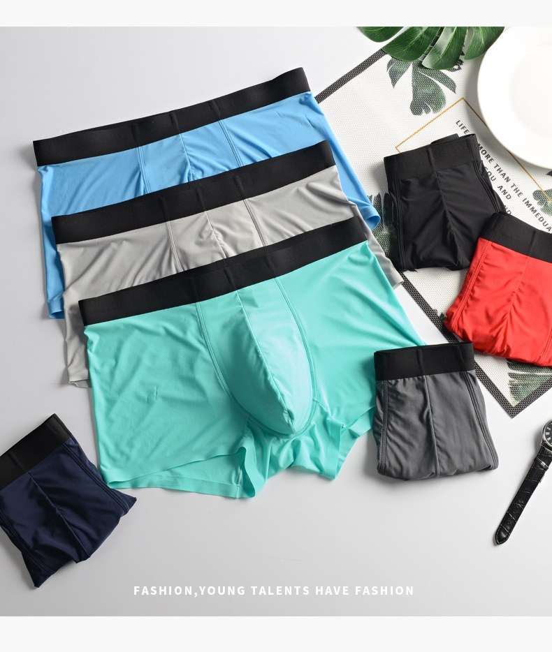 Men's Underwear Summer New Style Cooling Breathable U Convex Viscose Fibre Underwear Men's Boxers Sheer Traceless Boxer Shorts