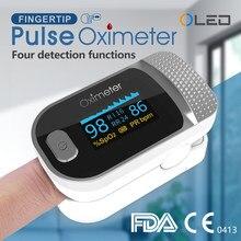 O oxímetro médico do dedo do pulsioximetro do oxímetro do dedo do pulso do oxímetro da taxa de pulso do medidor de oxigênio no sangue oled conduziu