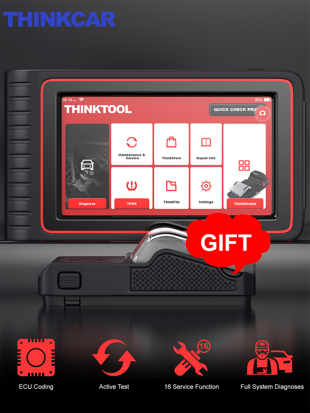 THINKCAR OBD2 Diagnostic Tool Professional OBD2 Scanner Automotive ECU Coding Scanner Actuation Test X431 V  X431 V  THINKTOOL