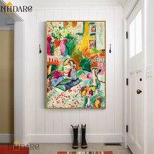 Henri matisse cor abstracto clássico reprodução da lona quadros de parede arte para sala estar do hotel varanda decoração casa