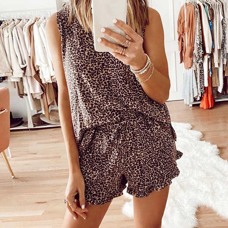 Zomer Womens Tie Dye Gedrukt Luipaard Korte Pyjama Set Mouwloze Pj Set Casual Loungewear Nachtkleding Nachtkleding Vrouwen Kleding