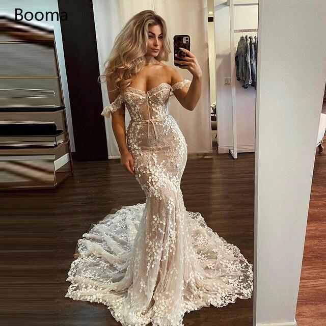 Booma Elegant Mermaid Wedding Dresses Off the Shoulder Sweetheart Full Lace Bride Dresses Trumpet Princess Bridal Gowns 1