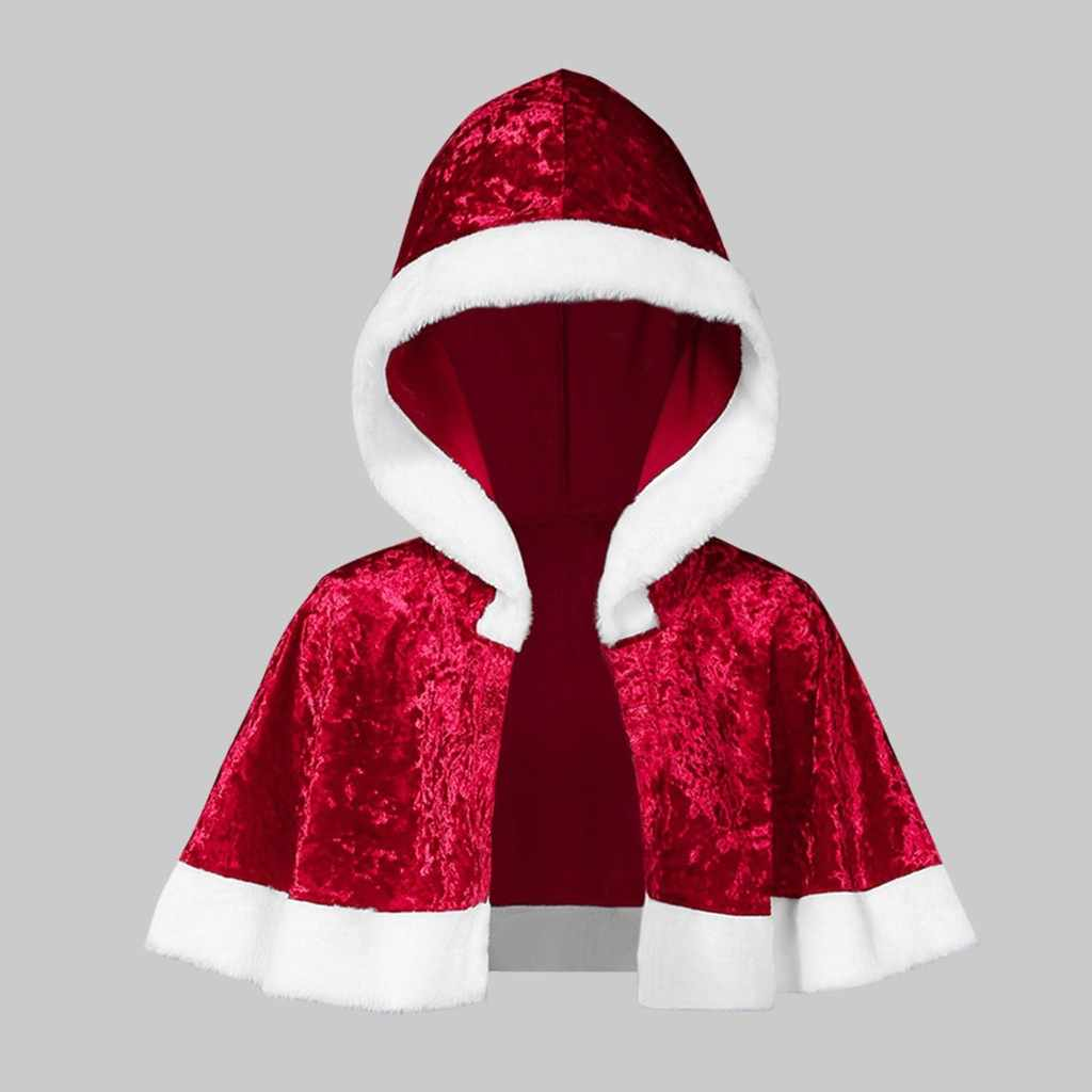 2019 クリスマスポンチョレディースコートマント家族マッチングベルベットクリスマスケープフード付きケープサンタレッドコート服ジャケット #15
