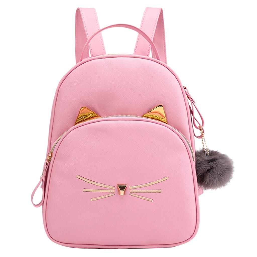 Женский маленький рюкзак MAIOUMY, милая Наплечная Сумка с кошками, женская сумка-Кроссбоди с меховыми помпонами для девочек-подростков, модная сумка, 2020-1