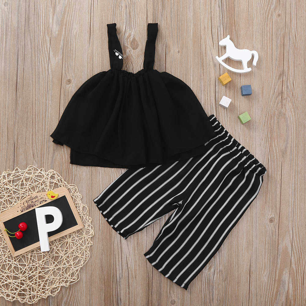 2Pcs Toddler Kids Baby Girls Striped Vest Tops+Pants Outfits Clothes Set Baby Girl Clothes Baby Girl Dress Vetement Bebe Fille