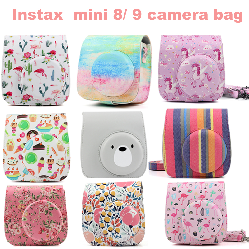Newly Flamingo Instax Mini 9 Case PU Pouch Camera Bags With Strap Protector Cover For Fujifilm Instax Mini 8/8+/9