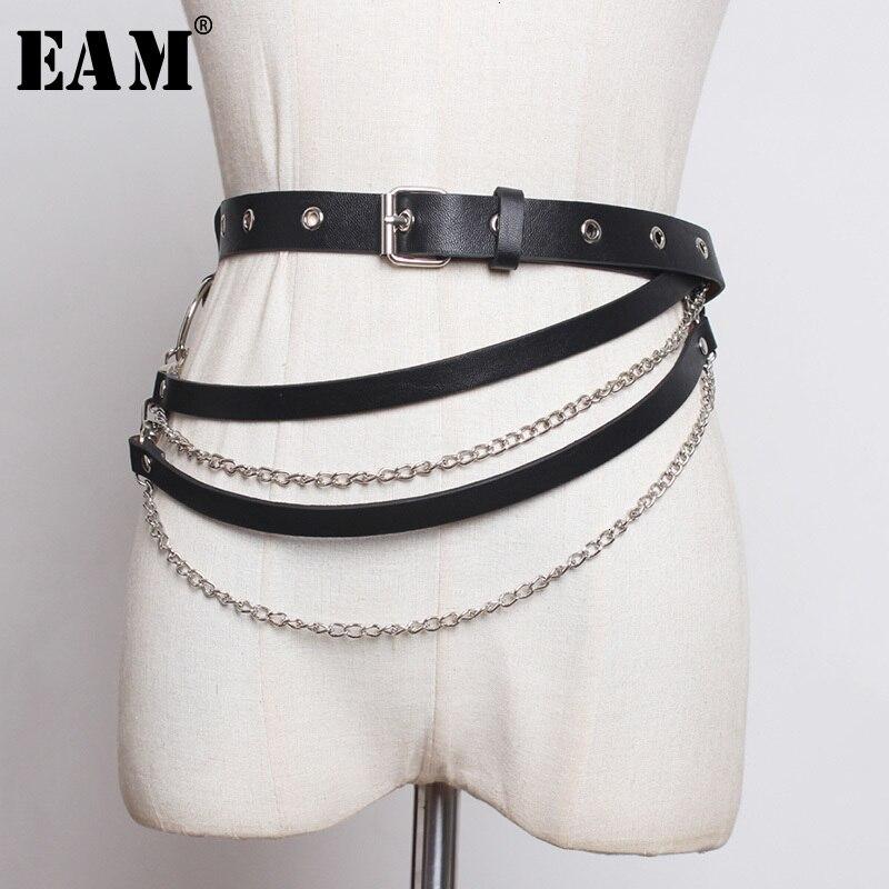 [EAM]  Pu Leather Black Split Joint Chain Long Belt Personality Women New Fashion Tide All-match Autumn Winter 2019 1H235