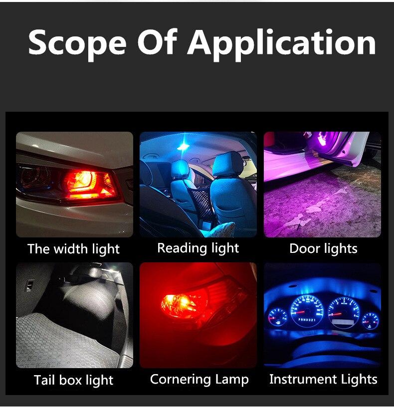 2pcs W5W T10 LED Lamp Car Bulb Epoxy Resin Cob 12V 6000K 7 Colors Wedge License Plate Lamp Dome Indicator Reading Light White 3