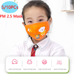 Kids Mask 5/10PCs Cotton Dustproof PM2.5 Mouth Face Mask Cartoon Animals Children Face Mouth Masks Dustproof Mask For Baby Nose Protection