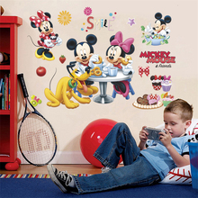 disney mickey minnie mouse pluto wall stickers for kids rooms party home decor cartoon decals pvc mural art diy posters