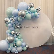 Macaron Blue Mint Pastel Balloons Garland Arch Kit Sliver Birthday Wedding Baby Shower Anniversary Party Decoration