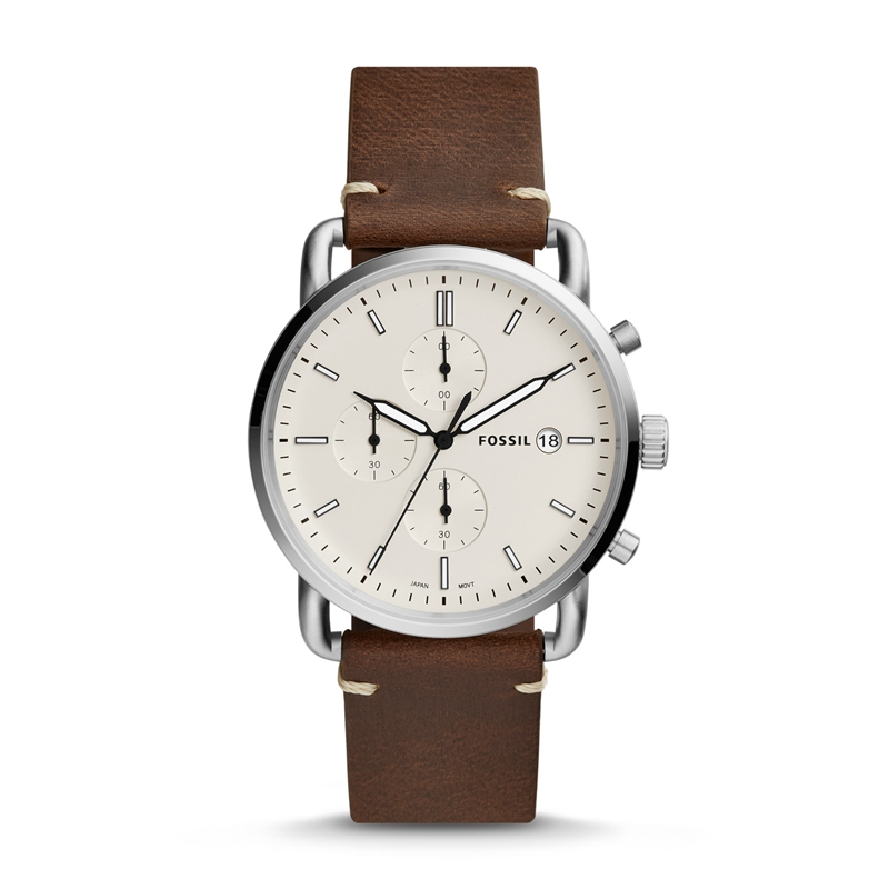 Fossil Men's Commuter Stainless Steel And Leather Casual Quartz Watch Mens Watches Top Brand Luxury FS5402