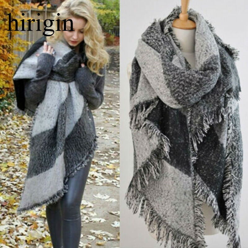 Fashion 2020 Large Scarves Women Long Cashmere Winter Wool Blend Soft Warm Plaid Scarf Wrap Shawl Plaid Scarf Tassel Decor