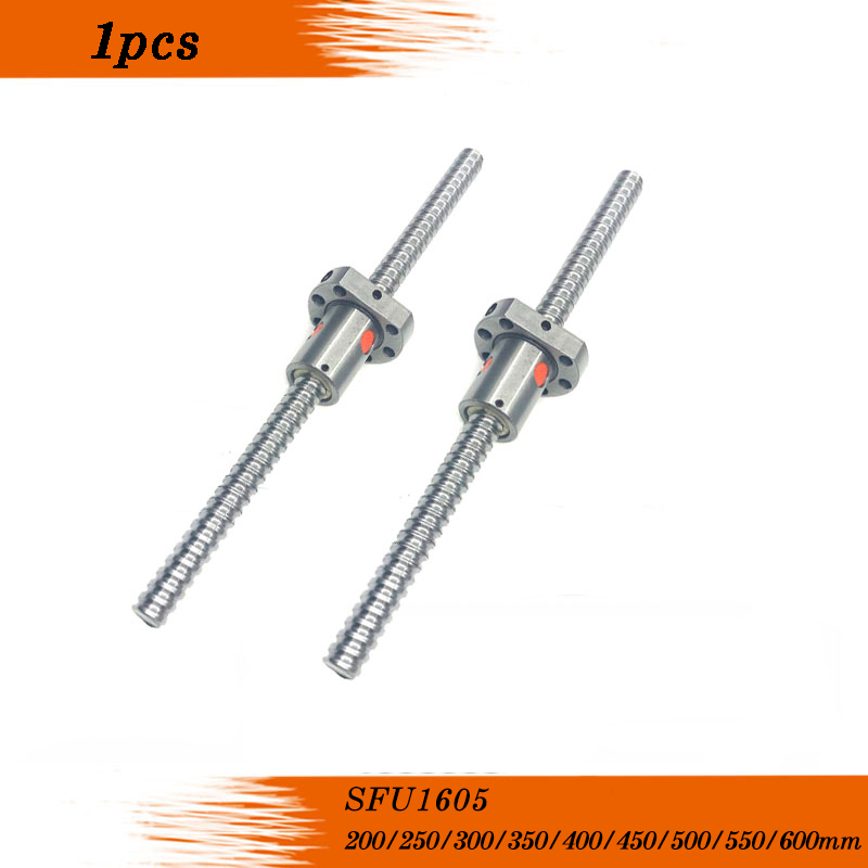 <font><b>SFU1605</b></font> 200 250 300 350 400 450 <font><b>500</b></font> 550 600 650 mm C7 ball screw with 1605 flange single ball nut BK/BF12 end machined image
