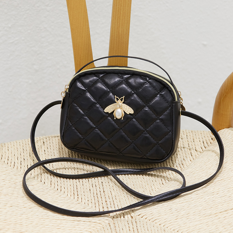 Bee Purse Double Layer Women's Bag Approach Case Lady Wallet Shoulder Bag Phone Package-Style Small Bee Shell Bag