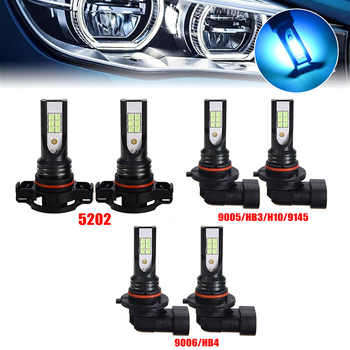 2pcs H1 H3 H4 H7 H11 9005 9006 H15 P13W 5205 CSP LED Car Headlight Bulbs 55W 10000LM Blue 12000K For 12V to 24V Car Lighting 12v 24v relay harness control cable for h4 hi lo hid bulbs wiring controller