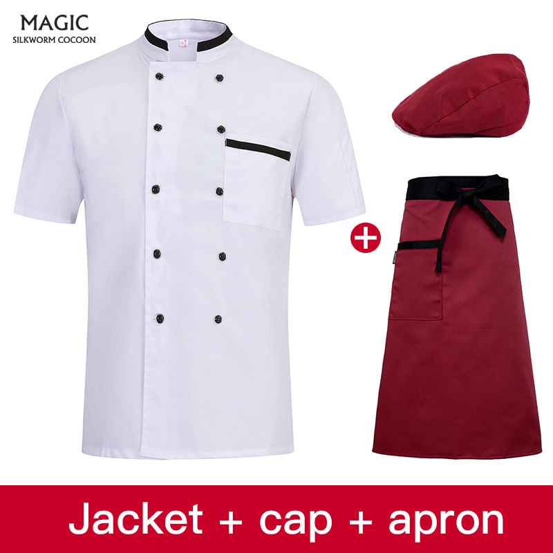 New Restaurant Bakery Cafe Work Uniform High Quality Men Short-sleeve Double Breasted Kitchen Work Wear Chef Jacket Cooking Hat