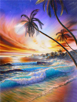 5D DIY Diamond Painting Landscape Sunset Sea Kit Full Drill Square Embroidery Mosaic Art Picture of Rhinestones Home Decor Gift 8