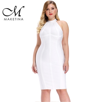 Maketina Plus Size Bandage Dresses 2020 New Arrivals Mini White Dress Sexy Round Neck Club Party Bodycon