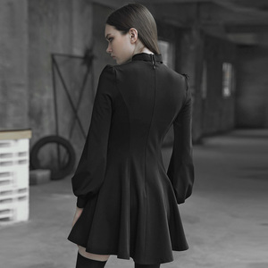 Image 3 - 펑크 레이브 여자의 고딕 타이 업 로프 아일렛 로프와 금속 장식 드레스 레트로 궁전 버블 슬리브 태양 진자 드레스