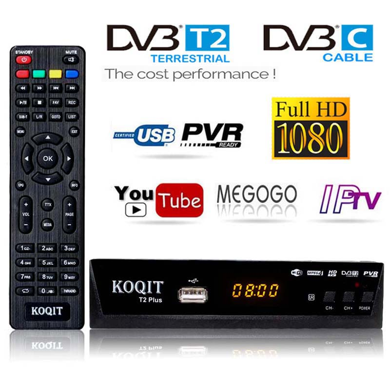 H 264 Combo DVB-C Dvb-T2 Tv Tuner DVB T2 Digital tv Box DVB-T2 DVBC Free Coaxial Cable Receiver Dvbt2 USB Wifi IPTV m3u Youtube