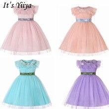 It's Yiya/Платья с цветочным узором для девочек 5 цветов, с короткими рукавами, с круглым вырезом, модные платья с поясом и бантом элегантные праздничные Детские платья 837
